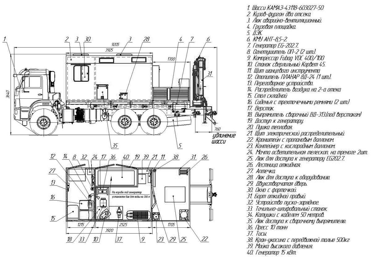 Планировка автофургона-мастерской Камаз 43118-3027-50 с КМУ АНТ 8.5-2