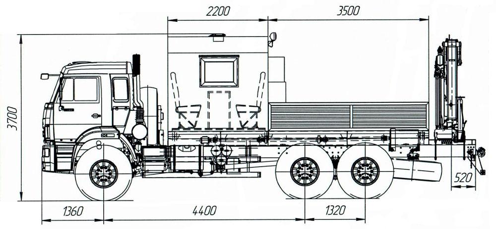 Габаритный чертеж передвижной мастерской ПАРМ Камаз 43118-3078-76(RR) с КМУ АНТ 8.5-2