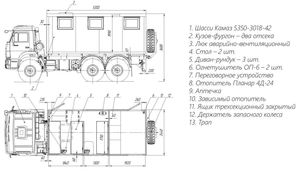 Планировка передвижной мастерской ПАРМ Камаз 5350-3018-42