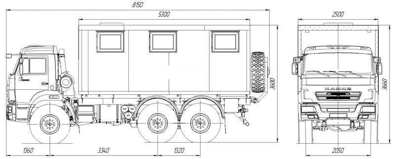 Габаритный чертеж передвижной мастеркой ПАРМ Камаз 5350-3018-42