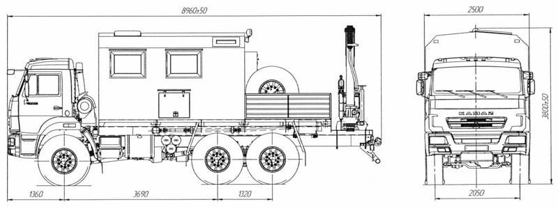 Габаритный чертеж передвижной мастерской ПАРМ Камаз 43118-3027-50 с КМУ АНТ 8.5-2
