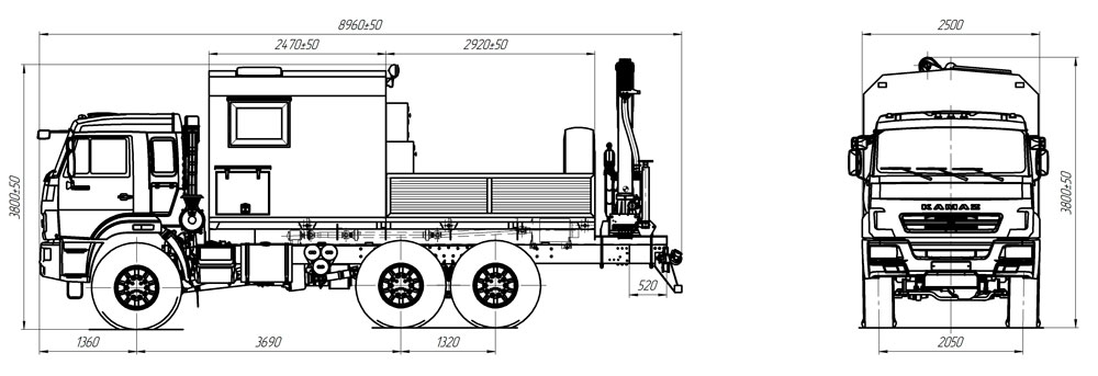 Габаритный чертеж передвижной мастерской ПАРМ Камаз 43118-3027-50 с КМУ АНТ 4.4-1 (016)