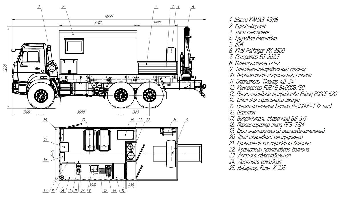 Планировка передвижной мастерской ПАРМ Камаз 43118-3027-50 с КМУ Palfinger PK 8500 (013)