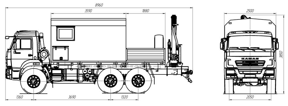 Габаритный чертеж передвижной мастерской ПАРМ Камаз 43118-3027-50 с КМУ Palfinger PK 8500 (013)