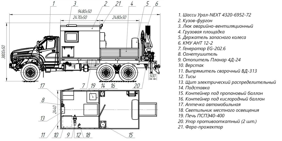 Планировка передвижной мастерской ПАРМ Урал-NEXT 4320-6952-72Е5Г38 с КМУ АНТ 12-2 (010)