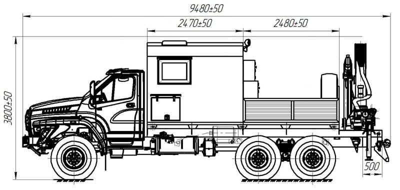 Габаритный чертеж передвижной мастерской Урал-NEXT 4320-6952-72Е5Г38 с КМУ АНТ 12-2 (010)