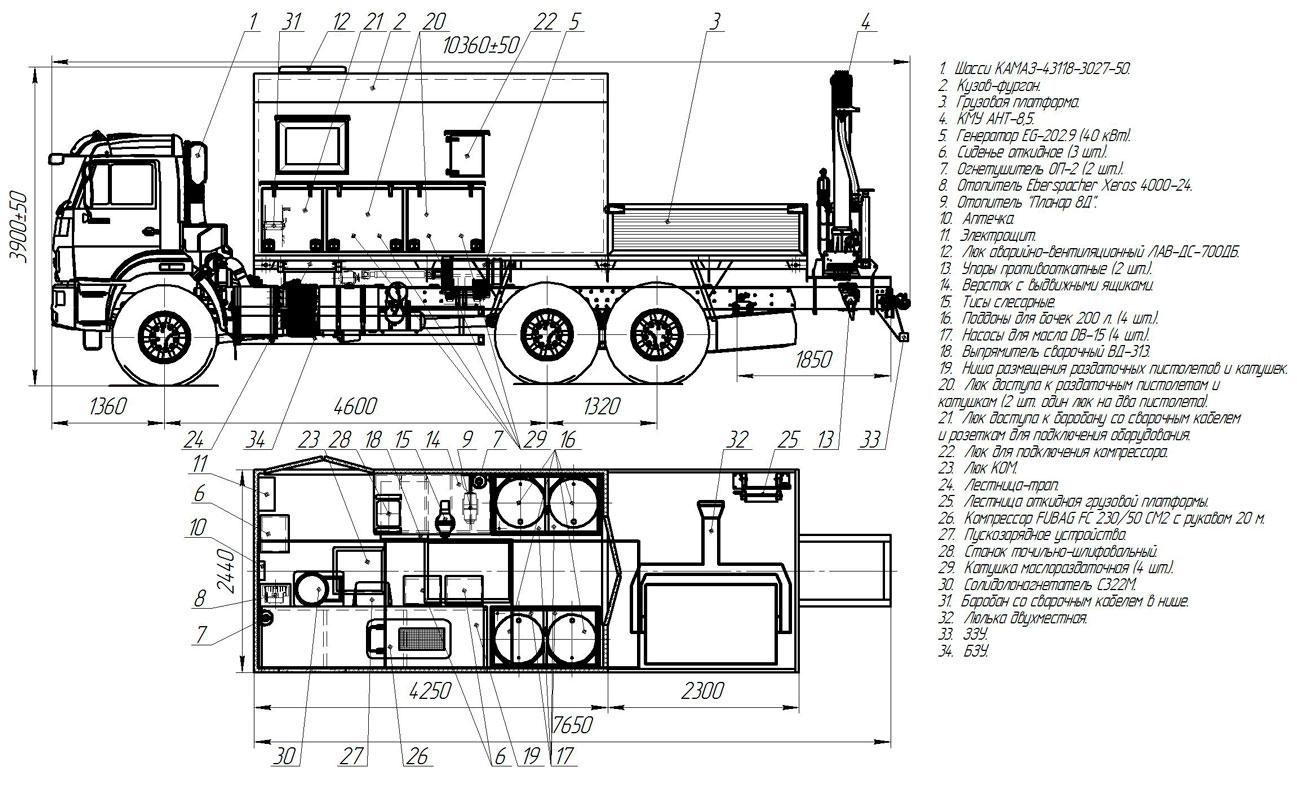 Планировка передвижной маслостанции Камаз 43118-3027-50 с КМУ АНТ 8.5-2