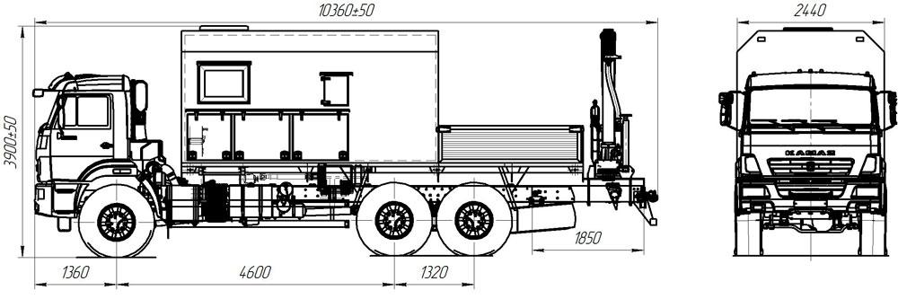 Габаритный чертеж передвижной маслостанции Камаз 43118-3027-50 с КМУ АНТ 8.5-2
