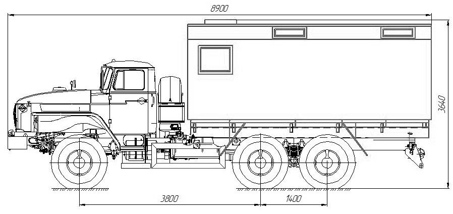 Габаритный чертеж передвижной мастерской ПАРМ Урал 4320-1112-71Е5 + 6 чел.
