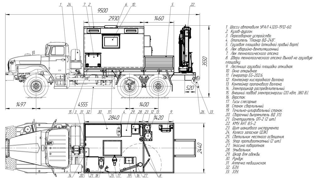 Планировка передвижной мастерской ПАРМ Урал 4320-1912-60Е5 с КМУ АНТ 8.5-2