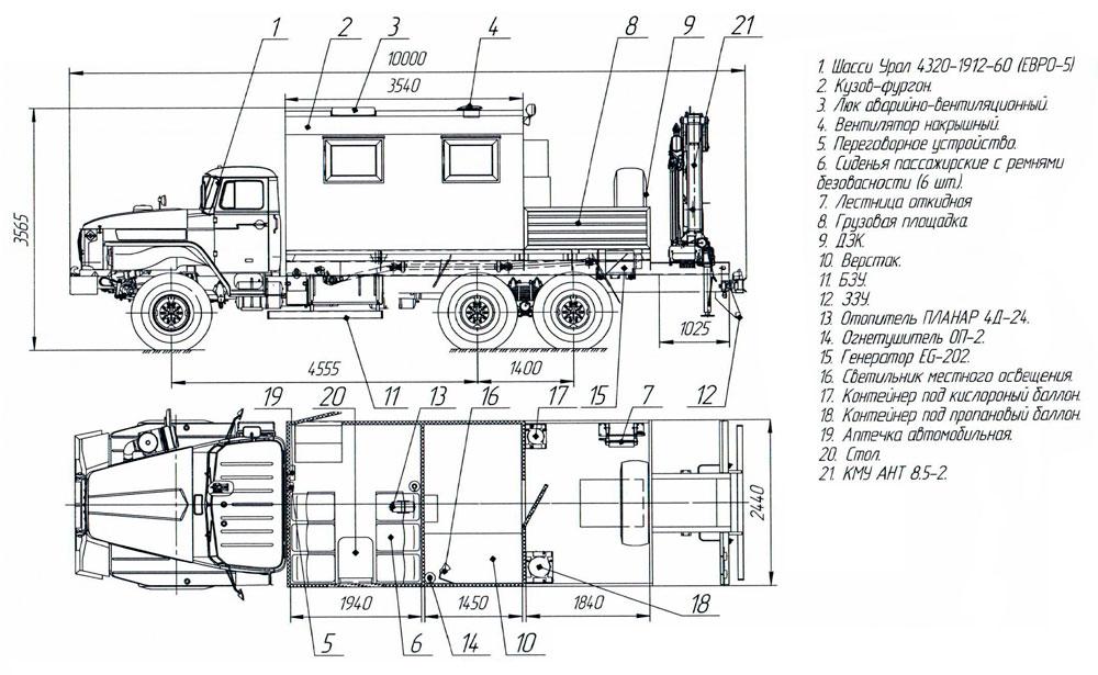 Планировка передвижной мастерской Урал 4320-1912-60Е5 с КМУ АНТ 8.5-2