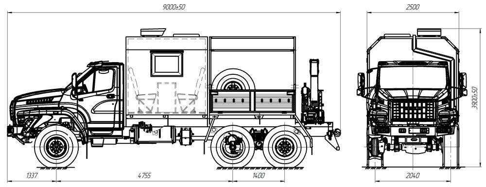 Габаритный чертеж передвижной мастерской Урал-NEXT 4320-6912-74Е5 с КМУ АНТ 7.5-2