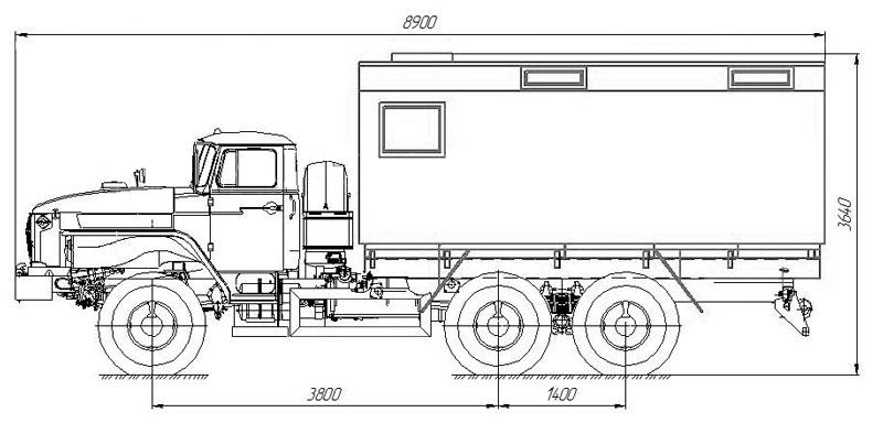 Габаритный чертеж передвижной мастерской ПАРМ Урал 4320-1112-61Е5 + 6 чел.