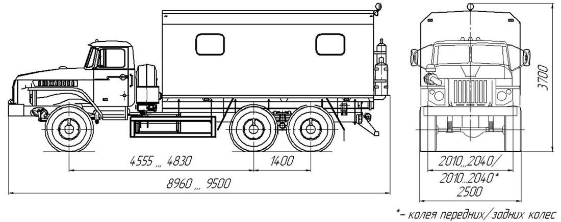Габаритный чертеж передвижной мастерской на шасси Урал 4320-1912-72Е5