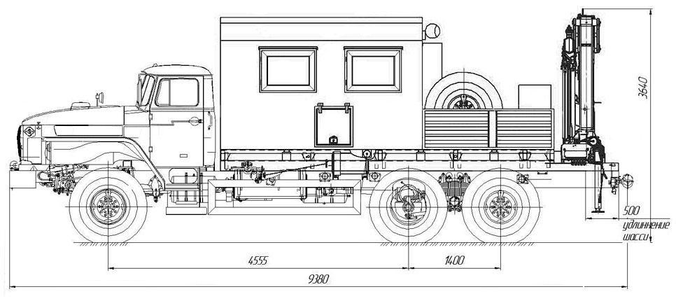 Габаритный чертеж передвижной мастерской Урал 4320 с КМУ