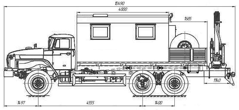 Габаритный чертеж агрегата ремонта и обслуживания качалок на шасси Урал 4320-1912-60Е5 с КМУ АНТ 8.5-2