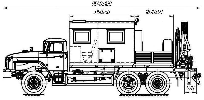 Габаритный чертеж передвижной мастерской ПАРМ Урал 4320-1912-60Е5 с КМУ АНТ 12-2