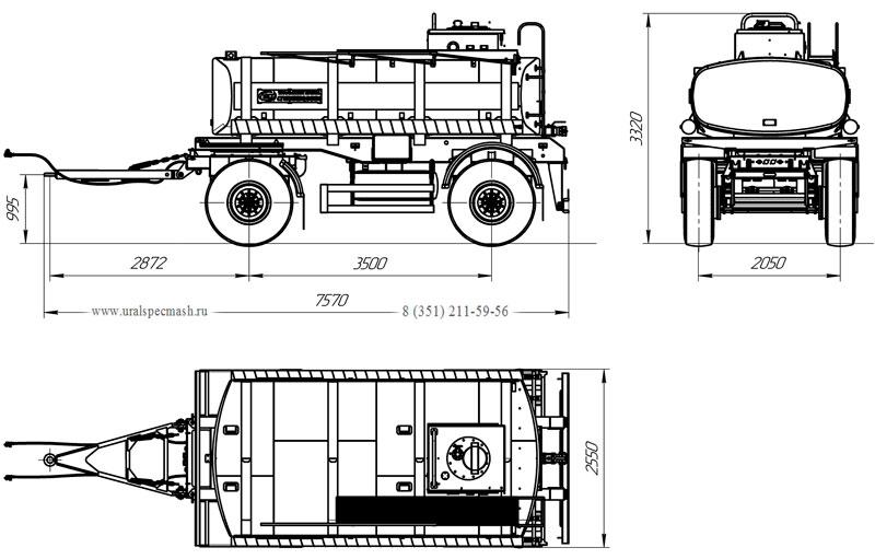 Габаритный чертеж прицепа-цистерны УЗСТ ПЦ-10-003 для техводы