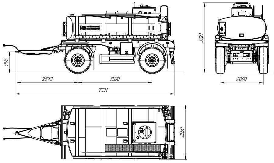 Габаритный чертеж прицепа-цистерны для ГСМ марки УЗСТ-ПЦ-10-004