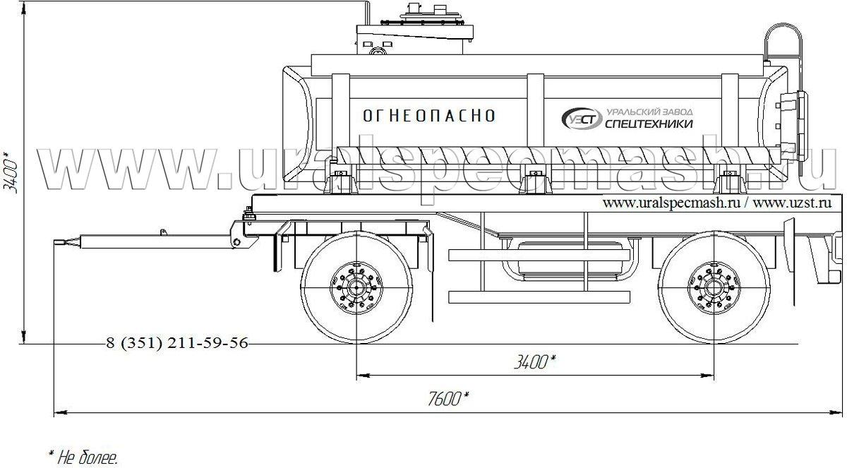 Габаритный чертеж прицепа-цистерны для нефти ПЦ-10 10 куб. метров
