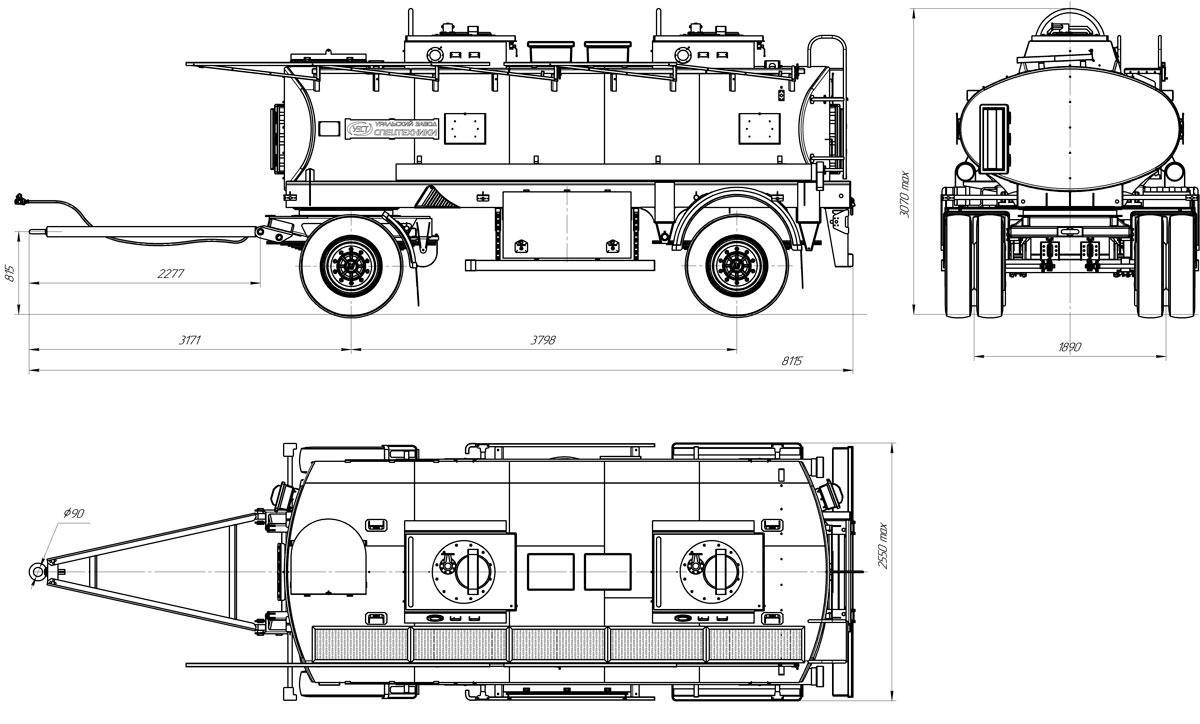 Габаритный чертеж прицепа-цистерны УЗСТ-ПЦ-11,2 куб. метров