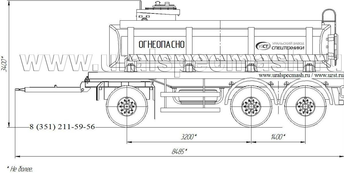 Габаритный чертеж прицепа-цистерны для нефти ПЦ-12 12 куб. метров