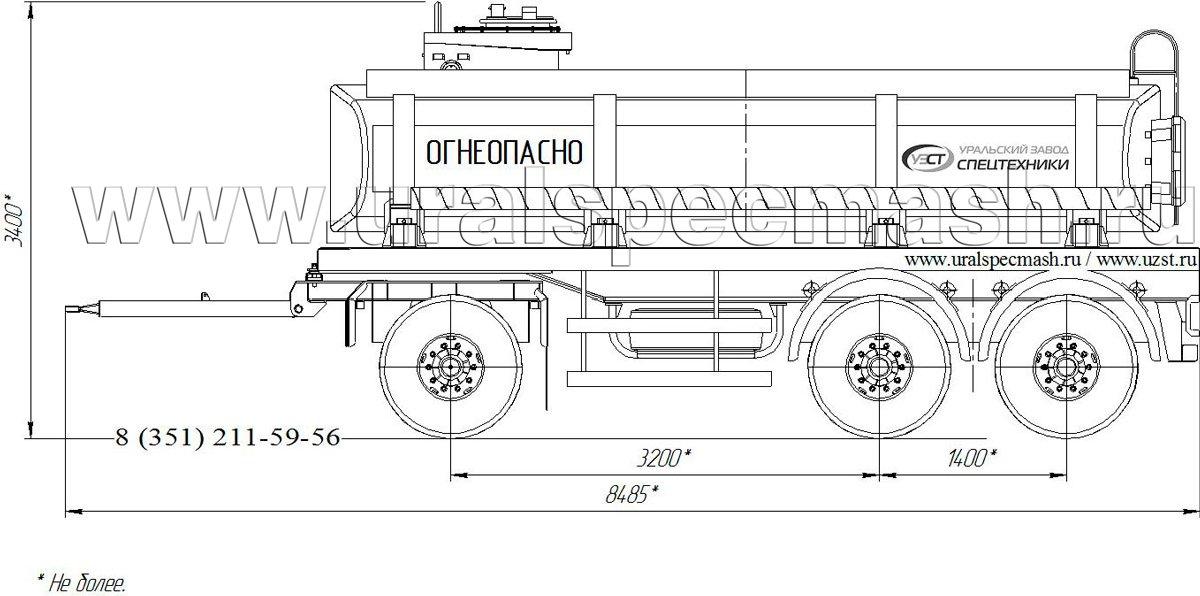 Габаритный чертеж прицепа-цистерны для нефти ПЦ-13 13 куб. метров