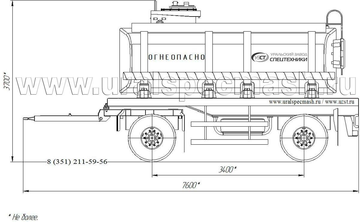Габаритный чертеж прицепа-цистерны УЗСТ-ПЦ-14 14 куб. метров