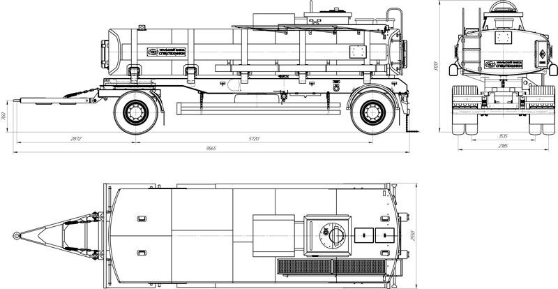 Габаритный чертеж прицепа-цистерны для ГСМ марки УЗСТ-ПЦ-15-002 (2 оси)