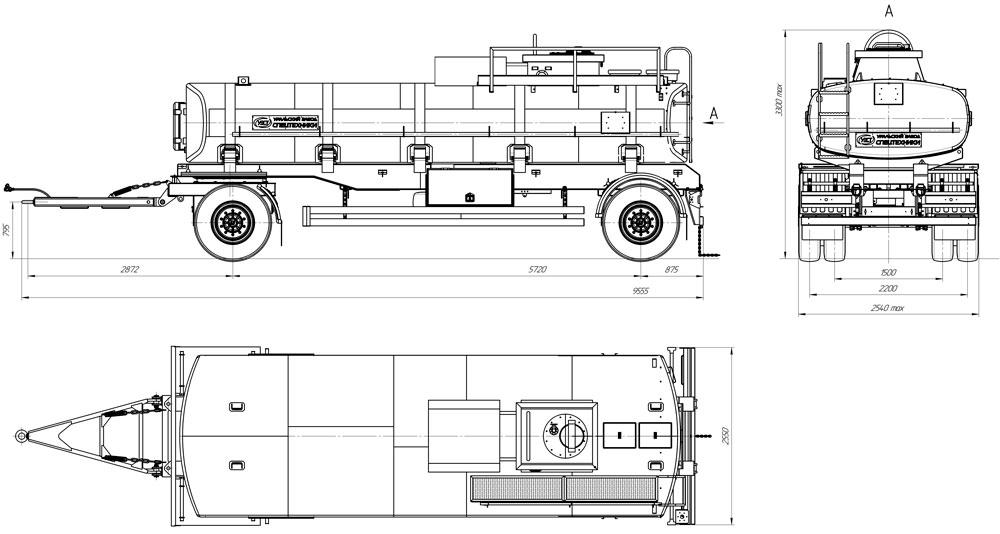 Габаритный чертеж прицепа-цистерны для ГСМ марки УЗСТ-ПЦ-15-003