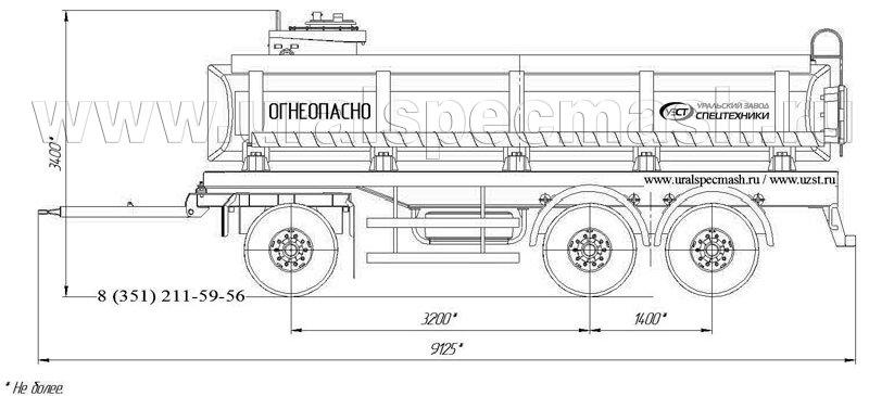 Габаритный рисунок прицеп-цистерна для ГСМ ПЦ-15 3-осный