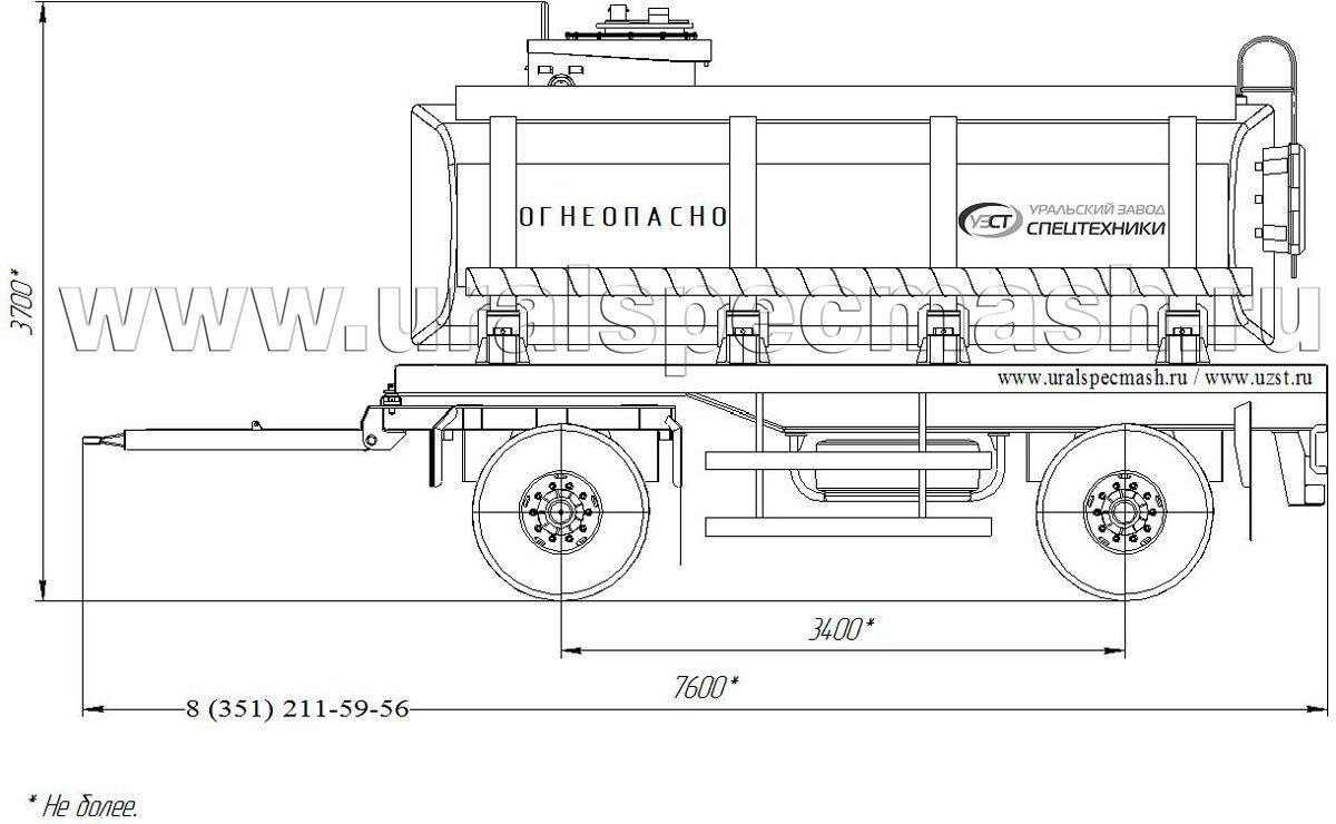 Габаритный чертеж прицепа-цистерны для нефти ПЦ-15 15 куб. метров