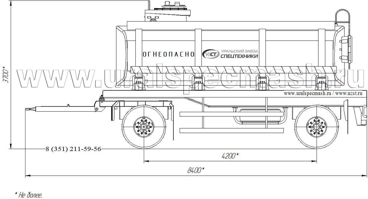 Габаритный чертеж прицепа-цистерны для нефти ПЦ-16 16 куб. метров