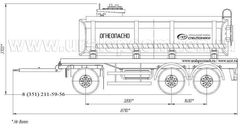 Габаритный рисунок прицеп-цистерна для ГСМ ПЦ-17 3-осный