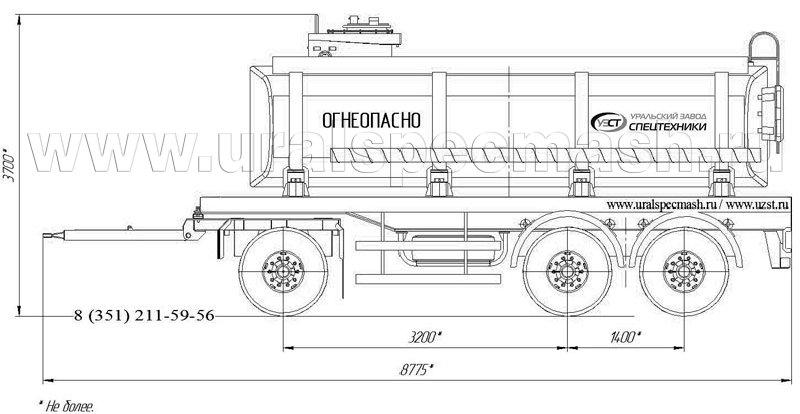 Габаритный рисунок прицеп-цистерна для ГСМ ПЦ-18 3-осный