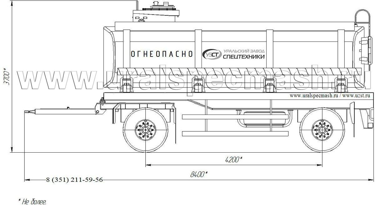 Габаритный чертеж прицепа-цистерны для нефти ПЦ-18 18 куб. метров