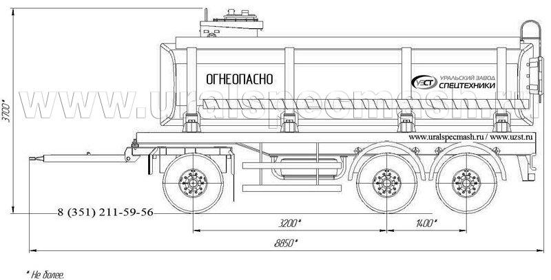 Габаритный рисунок прицеп-цистерна для ГСМ ПЦ-19 3-осный