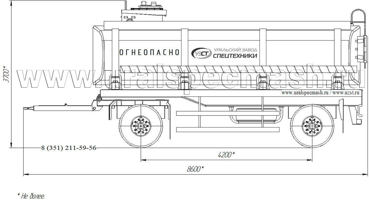 Габаритный чертеж прицепа-цистерны для нефти ПЦ-19 19 куб. метров