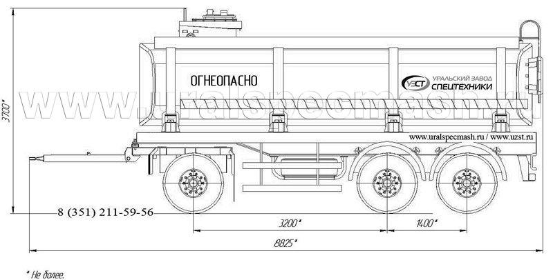 Габаритный рисунок прицеп-цистерна для ГСМ ПЦ-20 3-осный