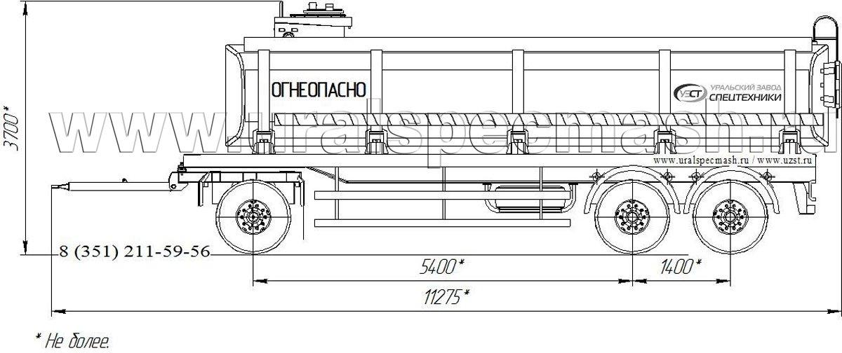 Габаритный рисунок прицеп-цистерна для ГСМ ПЦ-25 3-осный