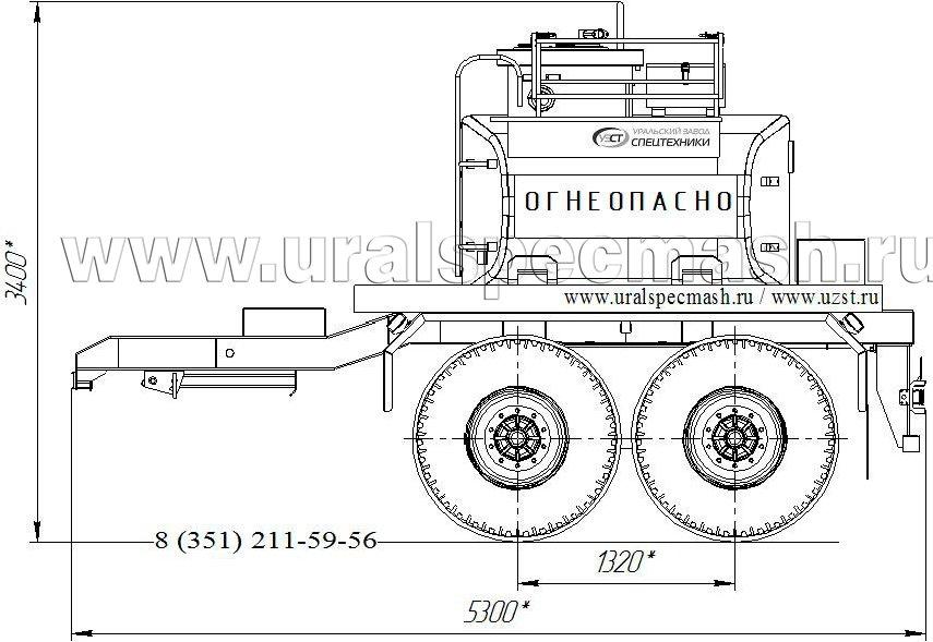 Габаритный чертеж прицепа-цистерны УЗСТ-ПЦ-4 4 куб. метров