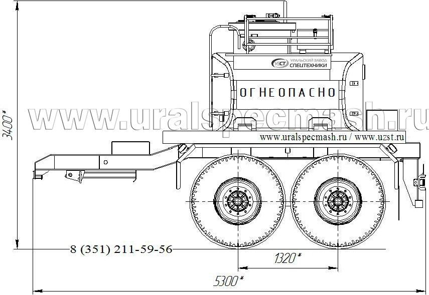 Габаритный чертеж прицепа-цистерны УЗСТ-ПЦ-5 5 куб. метров