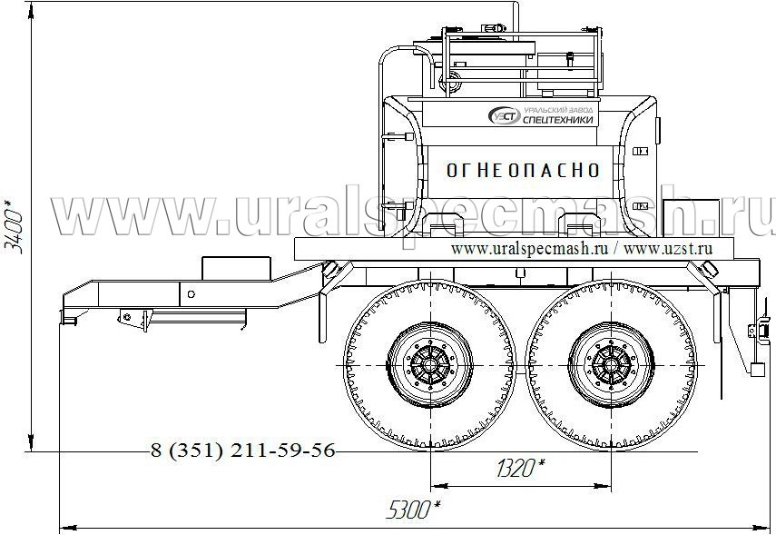 Габаритный чертеж прицепа-цистерны УЗСТ-ПЦ-6 6 куб. метров