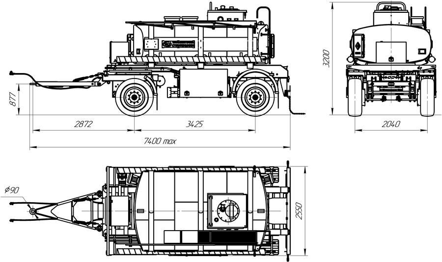Габаритный чертеж прицепа-цистерны для ГСМ марки УЗСТ-ПЦ-8-001