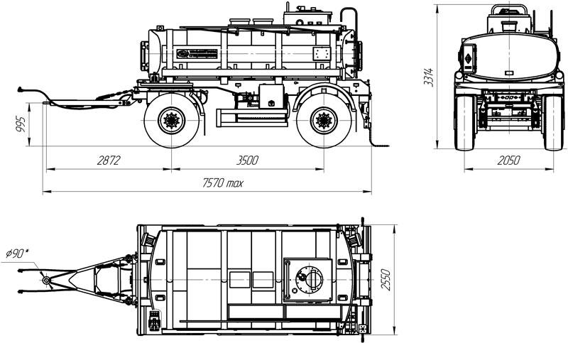Габаритный чертеж прицепа-цистерны для ГСМ марки УЗСТ-ПЦ-10-001 (2 оси)