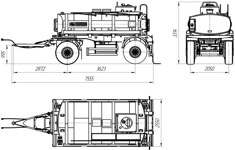 Габаритный чертеж прицепа-цистерны для ГСМ марки УЗСТ-ПЦ-10-002 (2 оси)