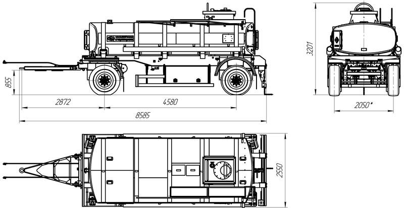 Габаритный чертеж прицепа-цистерны для ГСМ марки УЗСТ-ПЦ-12-001 (2 оси)
