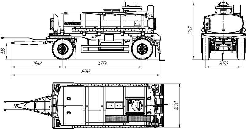 Габаритный чертеж прицепа-цистерны для ГСМ марки УЗСТ-ПЦ-12-002 (2 оси)