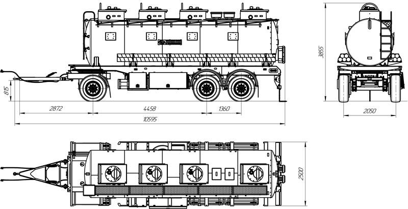 Габаритный чертеж прицепа-цистерны для ГСМ марки УЗСТ-ПЦ-20-001 (3 оси)