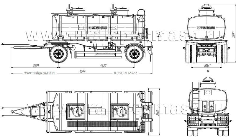 Габаритный чертеж прицепа-цистерны для ГСМ ПЦ-16 16 куб. метров